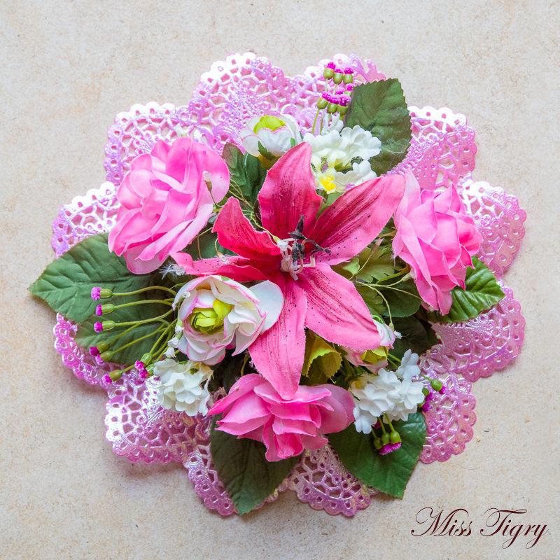 8 centres de table rose fuchsia en fleurs artificielles de